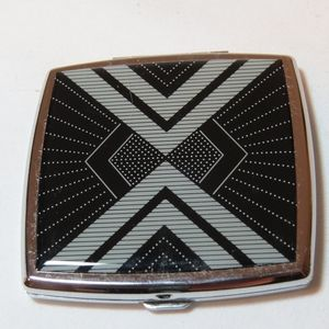 Enamel and Silver Mirror Compact